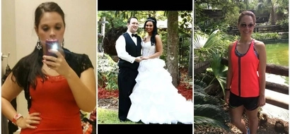 """Woman, 27, who gained """"happy weight"""" after finding love sheds 25kg by drinking 3 litres of WATER daily (photos)"""
