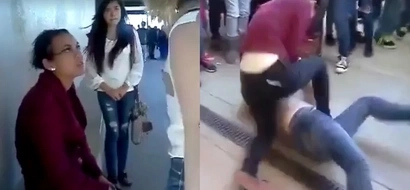 Palaban na Pinay on video! Gutsy Filipina beats up rude female foreigner who picked a fight with her