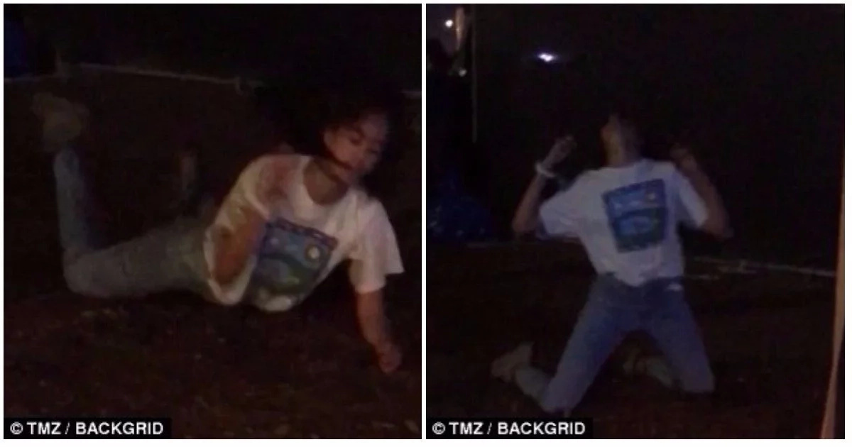 She earlier danced wildly to rock music. Photo: TMZ