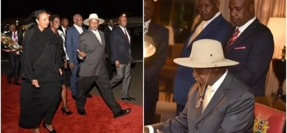 Uganda president touches down in Nairobi for Uhuru swearing-in ceremony, welcomed by Gideon Moi