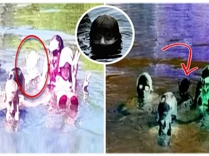 Two families went to a swimming spot, where they took a couple of photos. When they checked the photos, they noticed a mysterious girl in the pool..