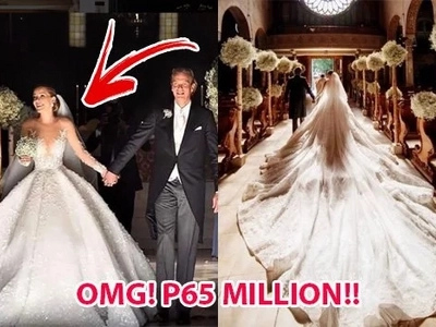 Filipino designer Michael Cinco creates stunning gown for Swarovski's heiress and it costs a staggering P65 million! Its weight is unbelievable too!
