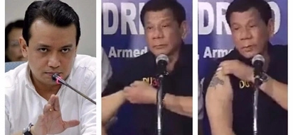 'Ipa-decode mo yan!' President Duterte mocks Trillanes during his speech while showing off his own tattoo!