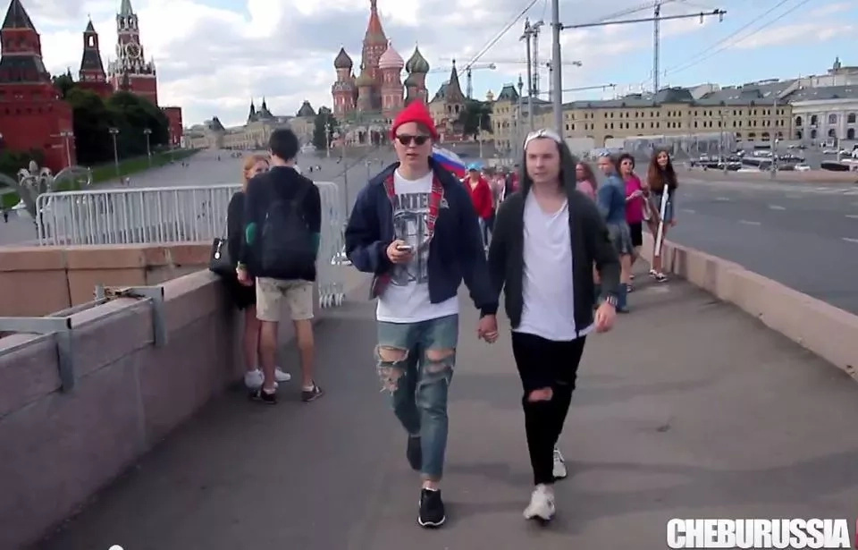 Moment Russians Trying To Beat Gay People Caught On Camera