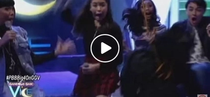 Shookt Kisses horrified by frightening object falling from the ceiling of Gandang Gabi Vice set
