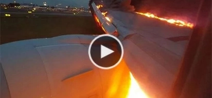 WATCH: Singapore Airlines plane on fire!
