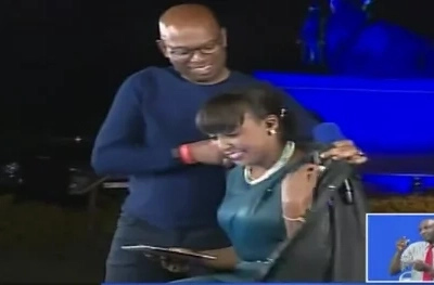 Not like Prezzo! Bob Collymore covers a freezing Betty Kyalo with his jacket (photos)