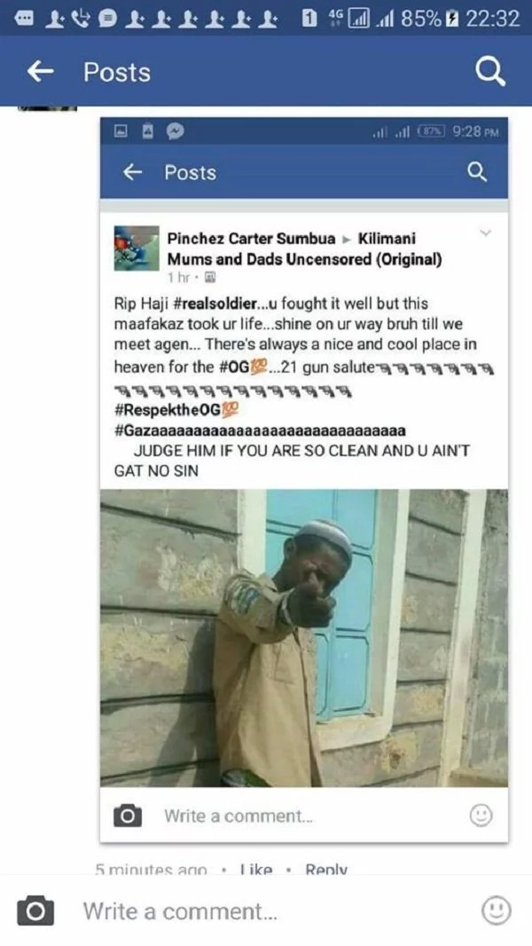 A suspicious Facebook post celebrating killed Eastleigh gangster raises eye brows