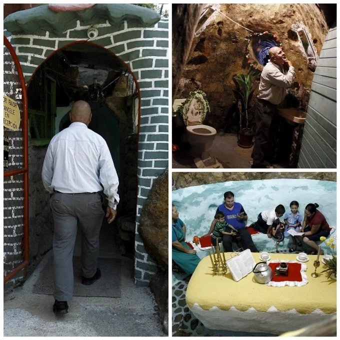 Man digs 63-feet deep hole for his family to live in; It took him 12 YEARS to finish it (see photos)