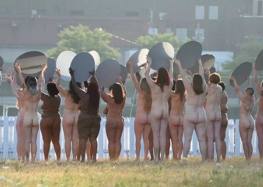 Nude women protest Trump at RNC