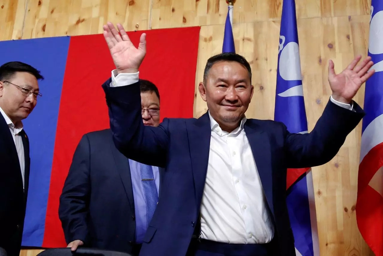 Battulga during a press conference after his win. Photo: Reuters