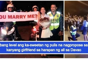 Parang eksena sa pelikula! Romantic policeman in Davao proposes to girlfriend in front of mall goers
