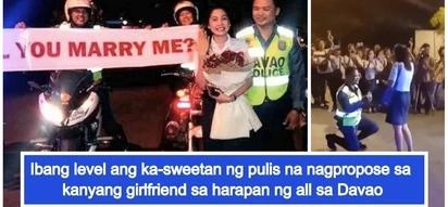 Parang eksena sa pelikula! Romantic policeman in Davao proposes to girlfriend in front of mall goers