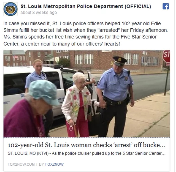 102-Year Old Grandma Completes Bucket List by Getting Arrested