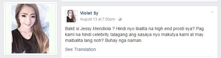 Jessy Mendiola tagged by Violet Sy as high-end 'prosti'