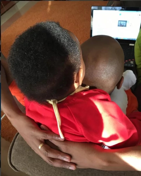 See how Janet Mbugua is protecting her son from evil eyes