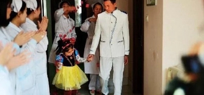 Touching! Chinese man 'marries' his critically ill young daughter to fulfil her wish for a fairy tale wedding