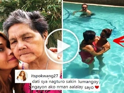 Watch Pokwang swim in the pool with her mother who has Alzheimer's Disease. Their emotional video will make you cry!