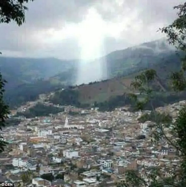 The astonishing cloud formation took on a shape locals believe is of Jesus Christ