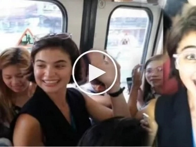 Anne Curtis having a blast riding MRT as she's late for Showtime