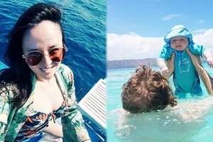 Georgina Wilson's 3-month old son 'swims' for the first time in Palawan