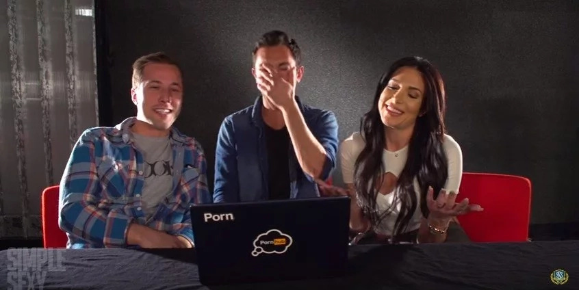 Hilarious reaction of porn star couple watch each other's porn videos