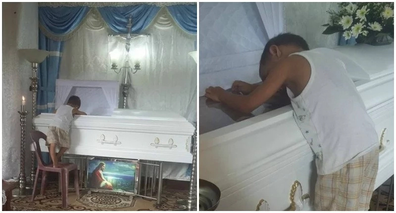 Question that boy asked at the funeral of his mother will break everyone's heart (photos)