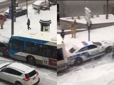 Icy Roads In Canada Cause A Hilarious Multiple Car Pile Up