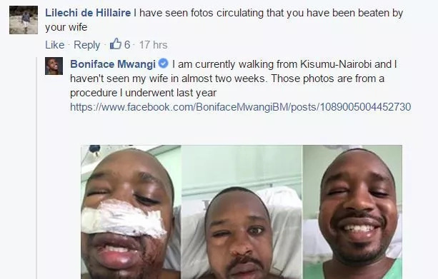 Boniface Mwangi denies he was beaten by wife, says he's not in Nairobi