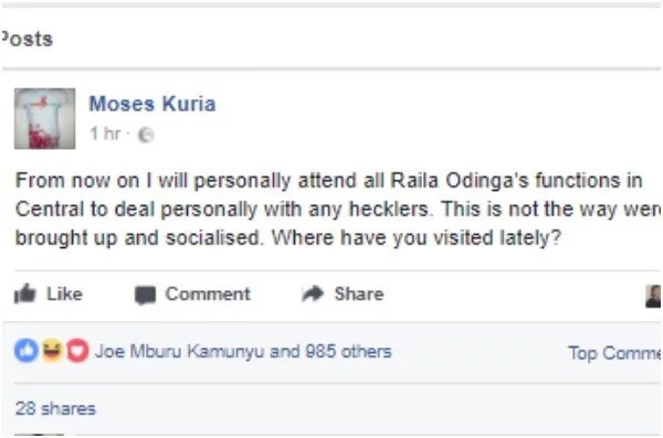 Moses Kuria's next move after Raila was pelted with stones in Thika