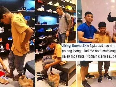 This young Pinoy tried to sell Sampaguita to this foreigner. So he took the boy to SM Megamall & did something unbelievable for him!