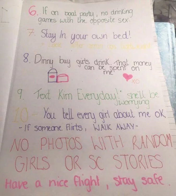 """Crazy"" girl writes 10 holiday rules for boyfriend"