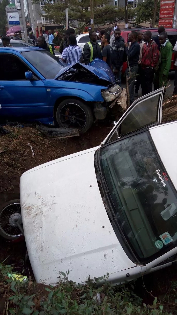 Accident on Waiyaki Way involving two cars and a motorbike