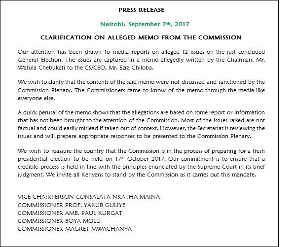 More drama at IEBC as 5 commissioners dismiss leaked memo written by Chebukati to Chiloba