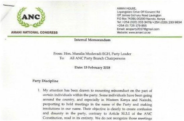 Mudavadi bans meetings in his Amani National Congress