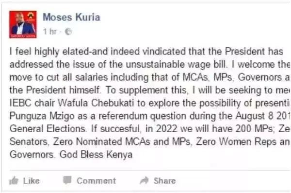Dakika chache tu baada ya hotuba ya Rais Uhuru Kenyatta, Mbunge wa Jubilee atoa HOJA la kushangaza