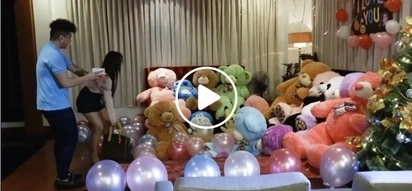 Sweet Pinoy viner surprises his girl with a mountain of huge stuffed toys to win her back