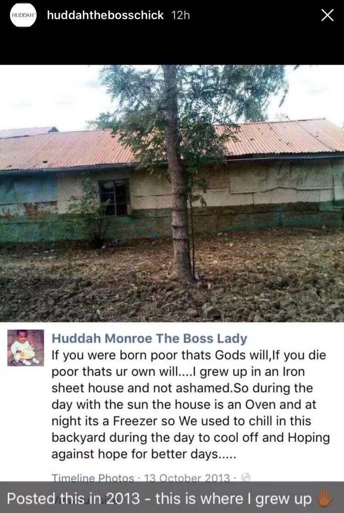 Forget about the Range Rovers and her millions, this is the HUMBLE MABATI house where Huddah Monroe grew up
