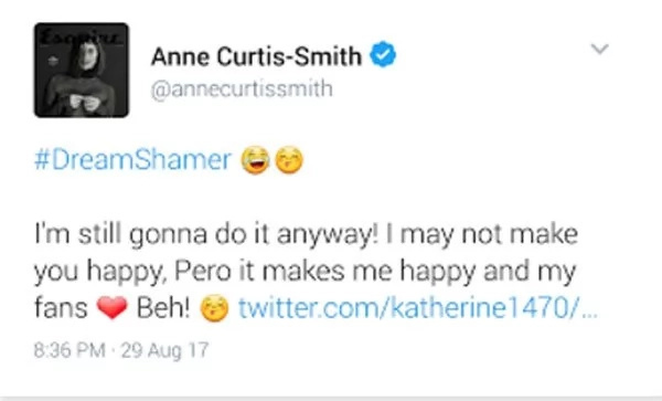 Anne Curtis slams basher who criticized her singing prowess