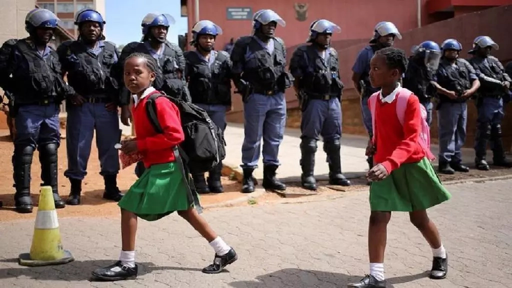 School girls protest in demand for skinny pants to be made part of their uniform