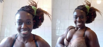 Photos of female Kenyan body builder that will leave you very confused about her gender