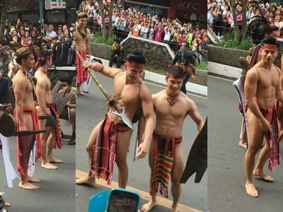 Uminit bigla sa Baguio! Netizens swoon over charming Panagbenga hunks wearing 'bahag'