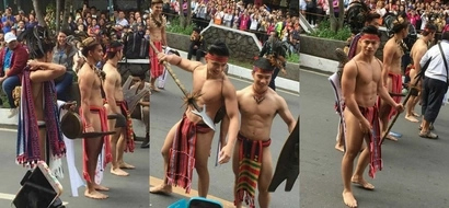 Uminit bigla sa Baguio! Netizens swoon over charming Panagbenga hunks wearing 'bahag'