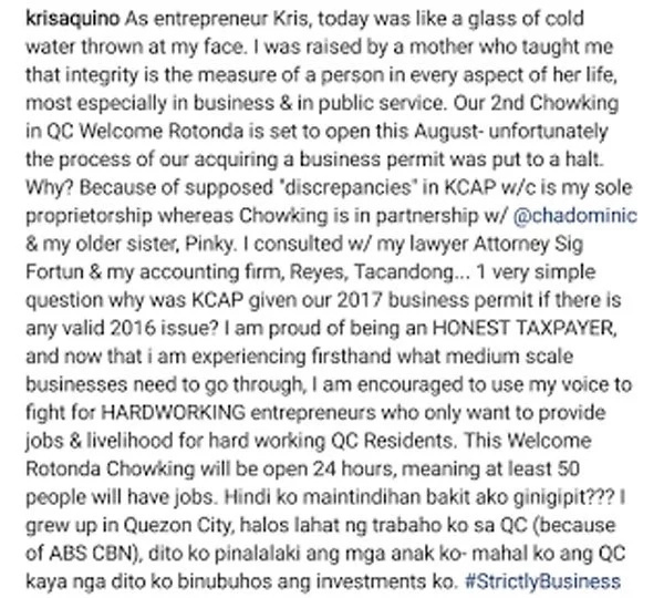 Kris Aquino gives voice to hardworking entrepreneurs who suffer from gov't red tape