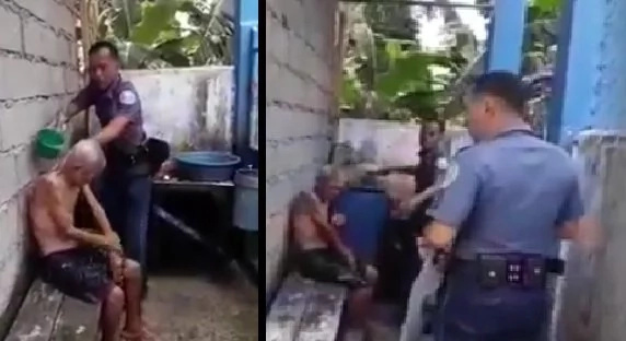 Policemen take care of abandoned old man