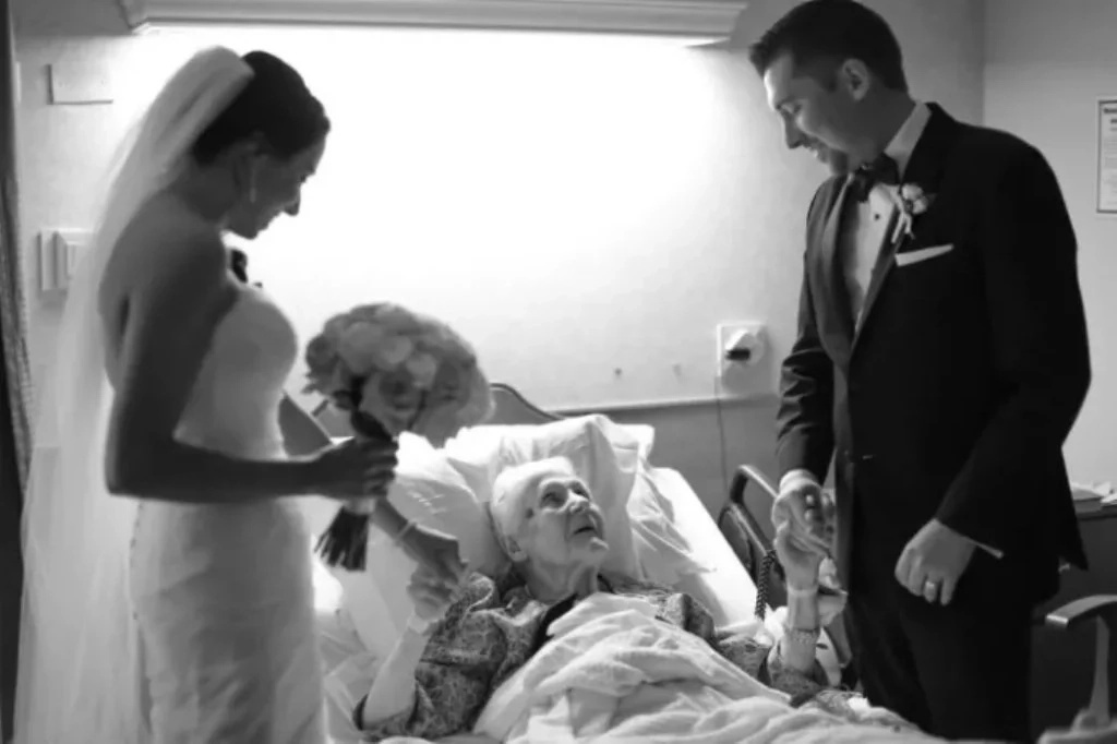 Old woman was dying at hospital. Then two come into her room and she starts screaming