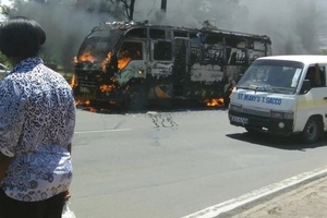 Chaos along Lang'ata road as Rongai matatu is TORCHED for killing a child