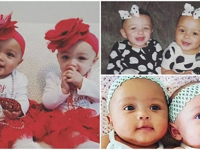 Twins with different skin colors who have black father and white mother celebrate their first birthday (photos)