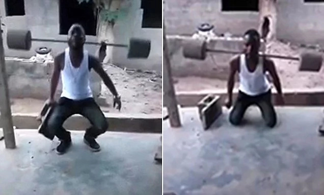 Muscled mouth! Incredible moment man lifts huge barbells using only his TEETH (photos, video)