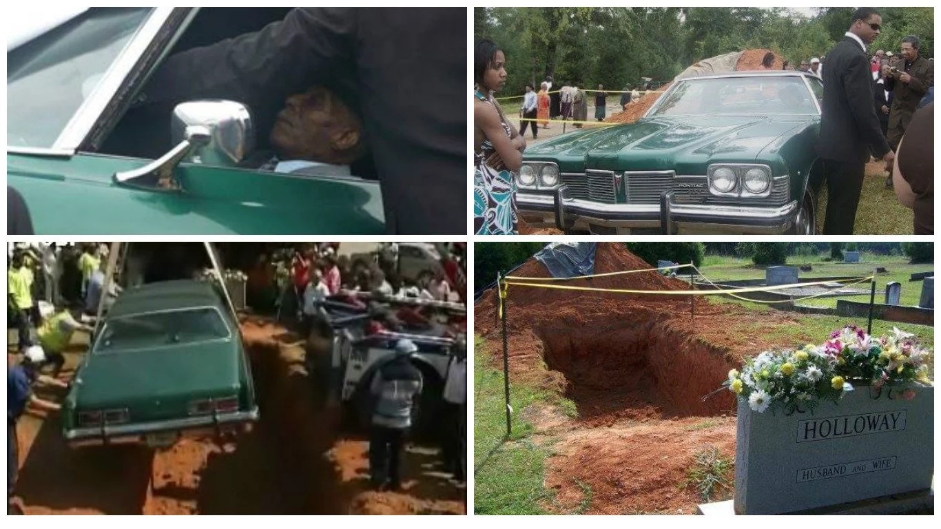 This elderly man buried in his beloved 1973 Pontiac car (photos, video)